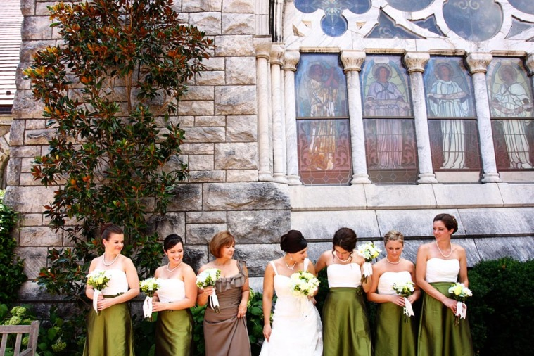 Bride and Bridesmaids with Stained Glass